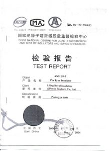 ANSI 55-5 porcelain pin type insulators TEST REPORT