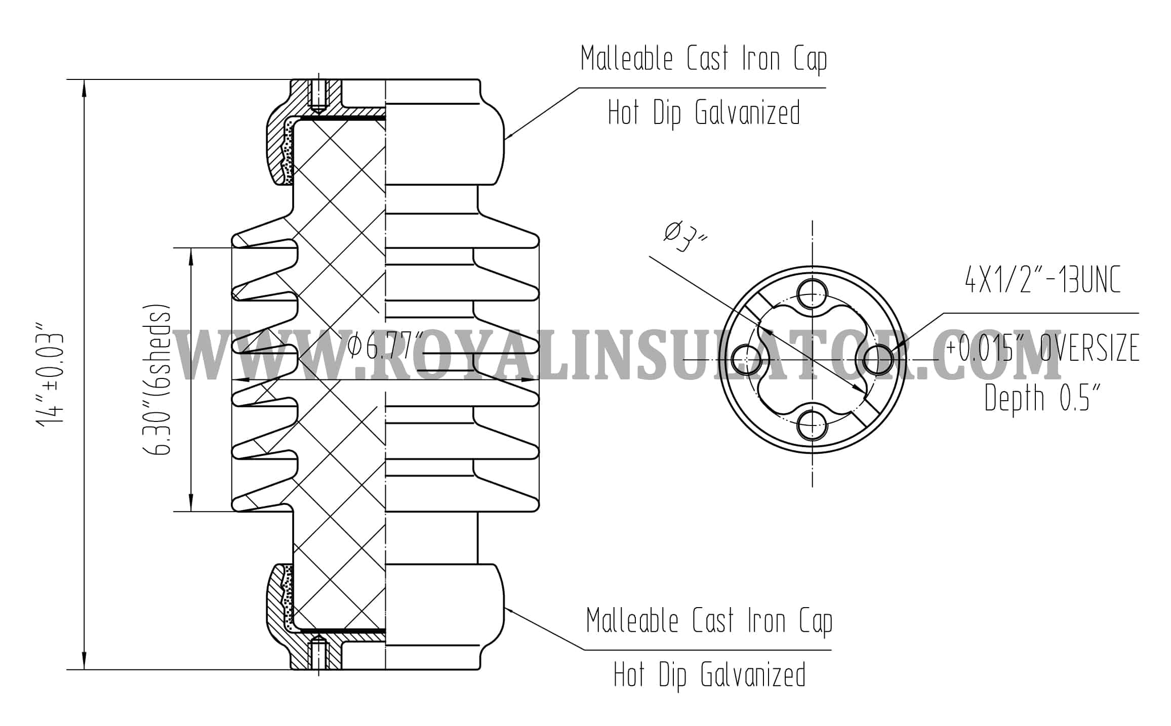 TR208 Post Insulator Drawing